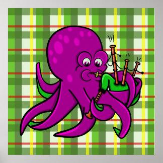 Octopus Piper Musical Instrument Illustration Poster