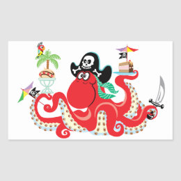 octopus pirate rectangular sticker