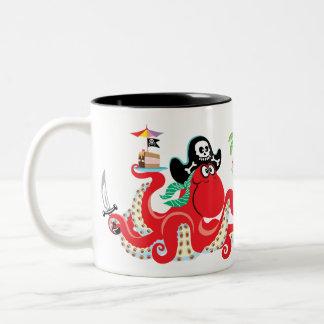 octopus pirate Two-Tone coffee mug