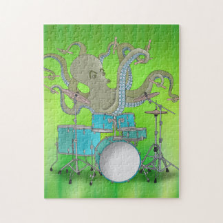 Octopus Playing Drums - Green Puzzle