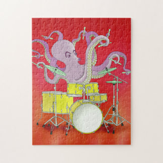 Octopus Playing Drums - Red Puzzle