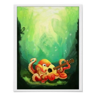 Octopus Playing Guitar Poster