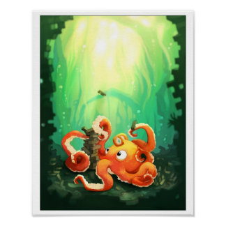 Octopus Playing Jennga Poster