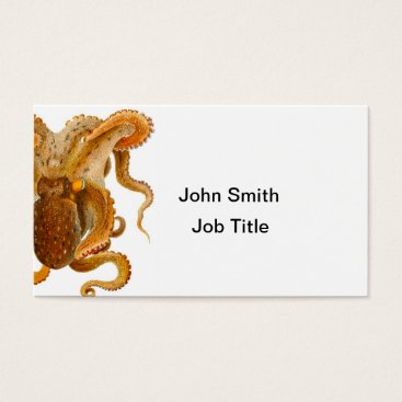 Beach Themed Octopus Print No.2 Cephalopod Sea Creature Art Business Card
