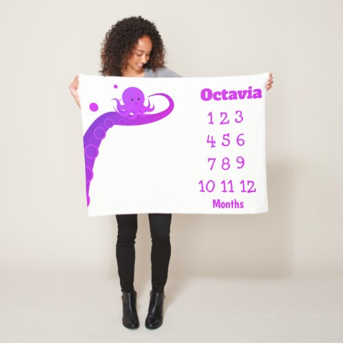 Octopus Purple White Name Milestone Baby Fleece Blanket