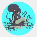 Octopus Queen Round Stickers
