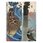 Octopus, Red Fish by Utagawa Kuniyoshi Spiral Notebook