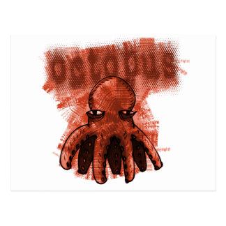 octopus red postcard