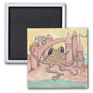 Octopus & Sandcastle 2 Inch Square Magnet
