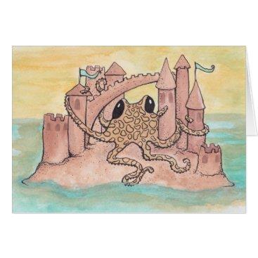 Beach Themed Octopus & Sandcastle Card