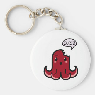 Octopus Sausage Bitten Basic Round Button Keychain