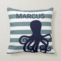 Octopus Sea Animal Nautical Ocean Nursery Decor Throw Pillow