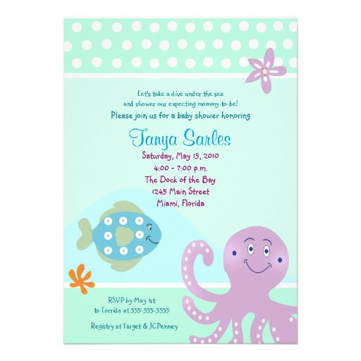 Personalized ocean baby shower invitations custominvitations4u octopus sealife ocean 5x7 baby shower invitation filmwisefo