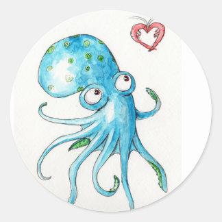 Octopus & Shrimp Classic Round Sticker