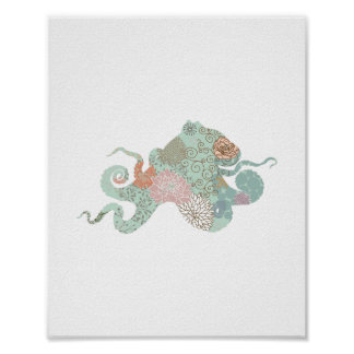Octopus Silhouette flowers floral Poster