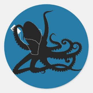 Octopus Sillouette MP3 Adverisement Spoof Classic Round Sticker