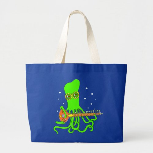 Bright Green Octopus Sitar String Instrument Large Tote Bag