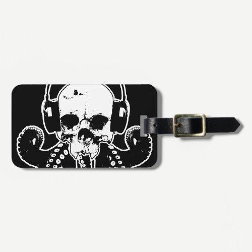 Octopus Skull DJ with Headphones Gothic Art Bag Tag