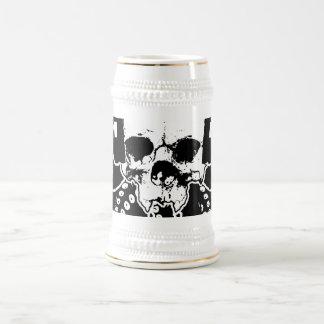 Octopus Skull DJ with Headphones Gothic Art Beer Stein
