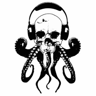 Octopus Skull DJ with Headphones Gothic Art Cutout