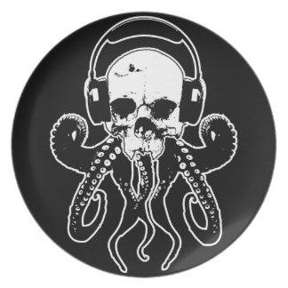 Octopus Skull DJ with Headphones Gothic Art Dinner Plate