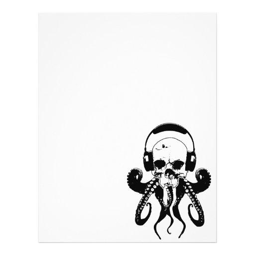 Octopus Skull DJ with Headphones Gothic Art Flyer