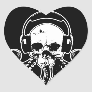 Octopus Skull DJ with Headphones Gothic Art Heart Sticker