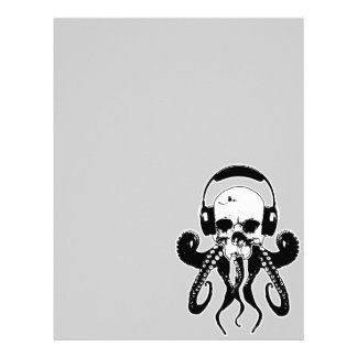 Octopus Skull DJ with Headphones Gothic Art Letterhead