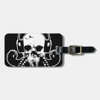 Octopus Skull DJ with Headphones Gothic Art Travel Bag Tags