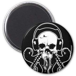 Octopus Skull DJ with Headphones Gothic Art Magnet