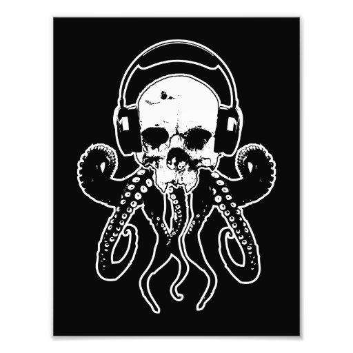 Octopus Skull DJ with Headphones Gothic Art Photo Art