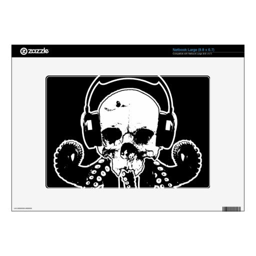 Octopus Skull DJ with Headphones Gothic Art Decals For Large Netbooks