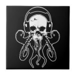 Octopus Skull DJ with Headphones Gothic Art Ceramic Tile