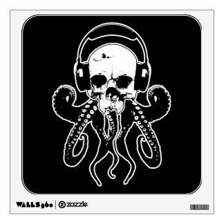 Octopus Skull DJ with Headphones Gothic Art Wall Sticker
