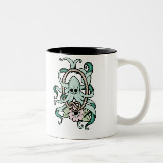 octopus skull mug taza de dos tonos