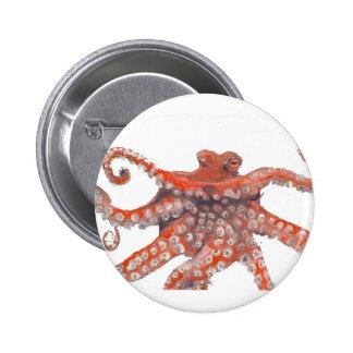 Octopus Squid Kraken Painting Pinback Button