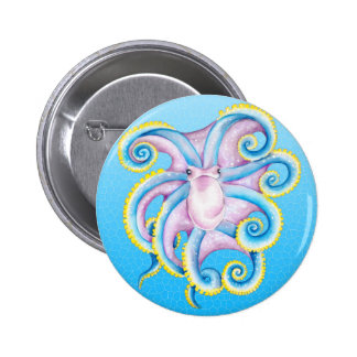 Octopus Stained Glass Pinback Button