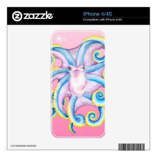 Octopus Stained Glass Pink Skins For iPhone 4