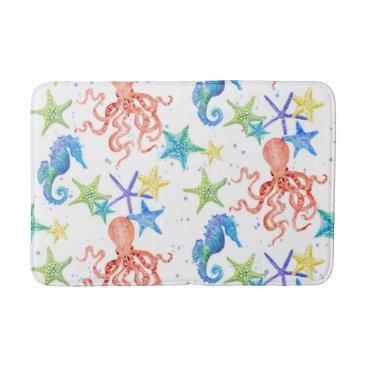 Beach Themed Octopus Starfish Seahorse Watercolor Beach Ocean Bathroom Mat