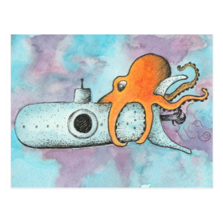 Octopus & Submarine Postcard