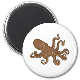 Octopus swimming 2 inch round magnet
