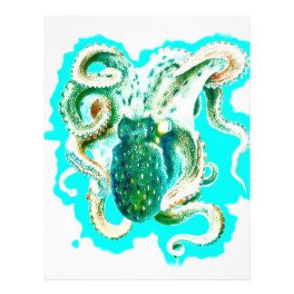 Octopus Teal Watercolor Letterhead