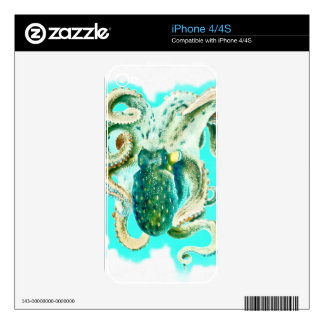 Octopus Teal Watercolor Skin For The iPhone 4