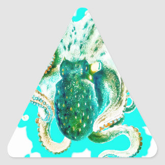Octopus Teal Watercolor Triangle Sticker