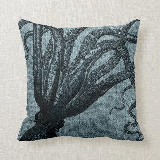 Octopus Tentacles Black Blue Grey Throw Pillow