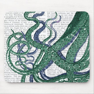 Octopus Tentacles Green and Blue Mouse Pad