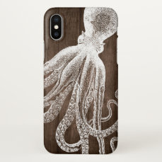 Octopus Tentacles Illustration Wood Cool Look iPhone X Case