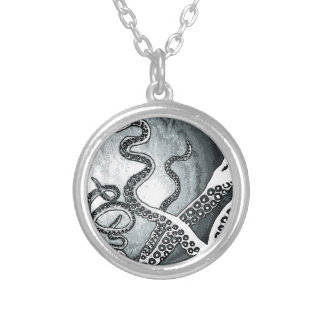 Octopus Tentacles Round Pendant Necklace