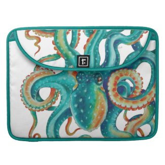 Octopus Tentacles  Teal Watercolor Art MacBook Pro Sleeve