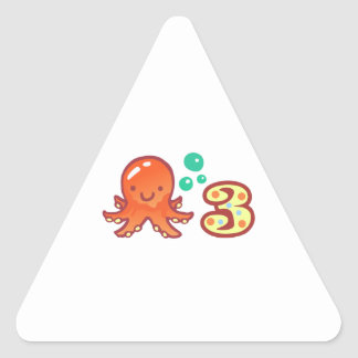 OCTOPUS THREE YEARS OLD TRIANGLE STICKER
